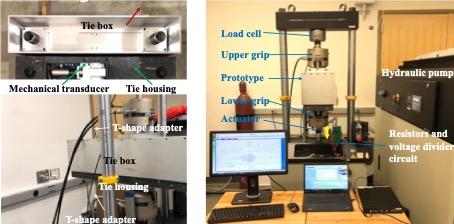 Laboratory test setup for ½-tie Energy Harvester Tie (EHT) prototype