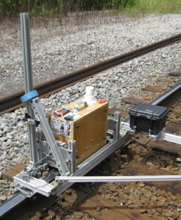 Prototype lubricity measurement system mounted on a track cart for field testing