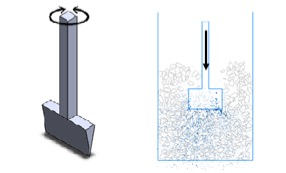 Illustration of the vibrating axis of the tamping tine (left) and penetration of ballast by the tine (right)