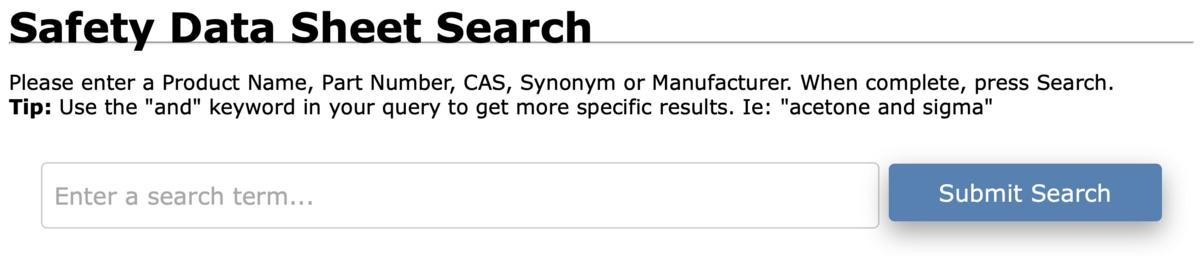 Safety Data Sheet Search Screenshot