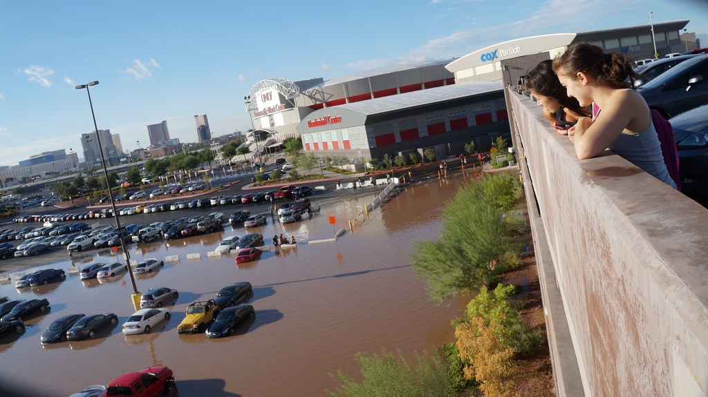 Flooding in front of Tropicana Parking Garage and Thomas and Mack