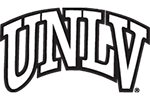 Curved UNLV logo in black and white