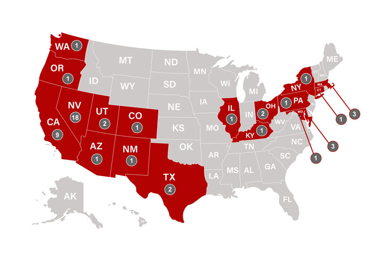 Map of the states the charter class matched to