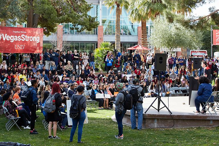 Crowd at Alumni Amphitheater