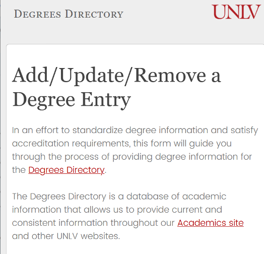 Screenshot of the Add/Update/Remove a Degree Entry form