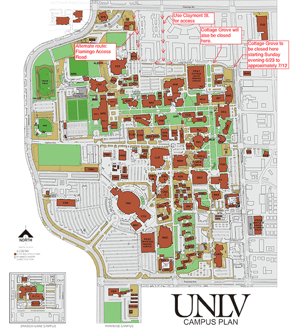 Campus Map showing Cottage Grove area