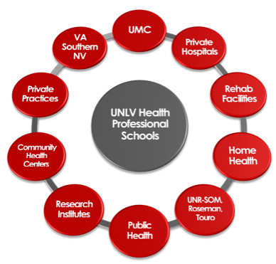 Circular diagram depicted the UNLV Health Profession Schools in the middle with the individual units surrounding it.