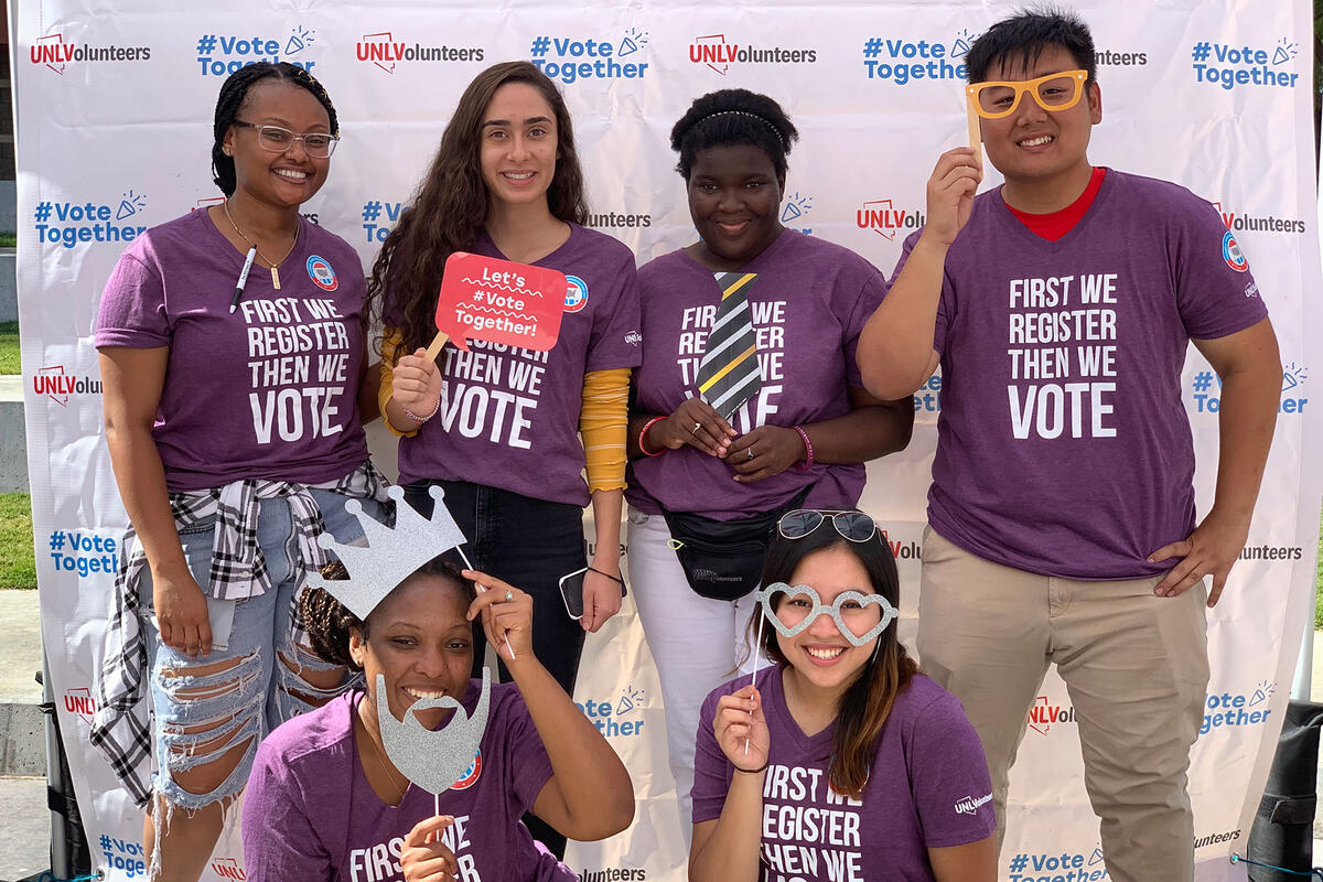 Students wearing vote t-shirts