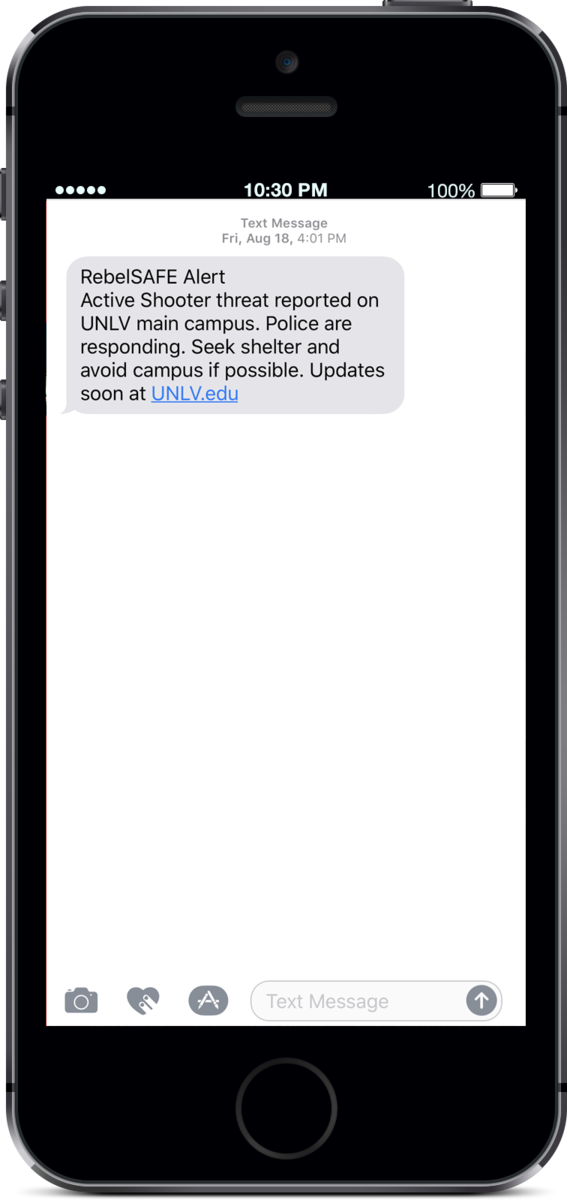Screenshot of an alert text message
