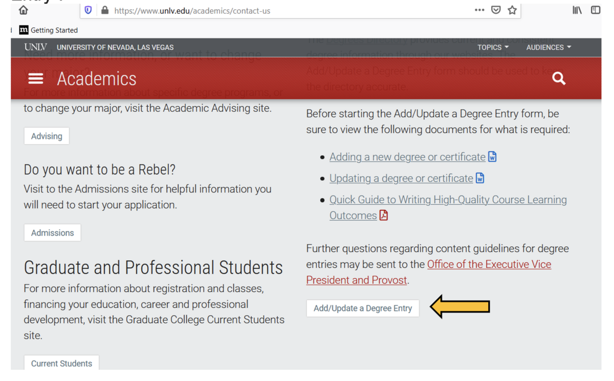 Arrow pointing to Add/Update a Degree Entry button on bottom right of page