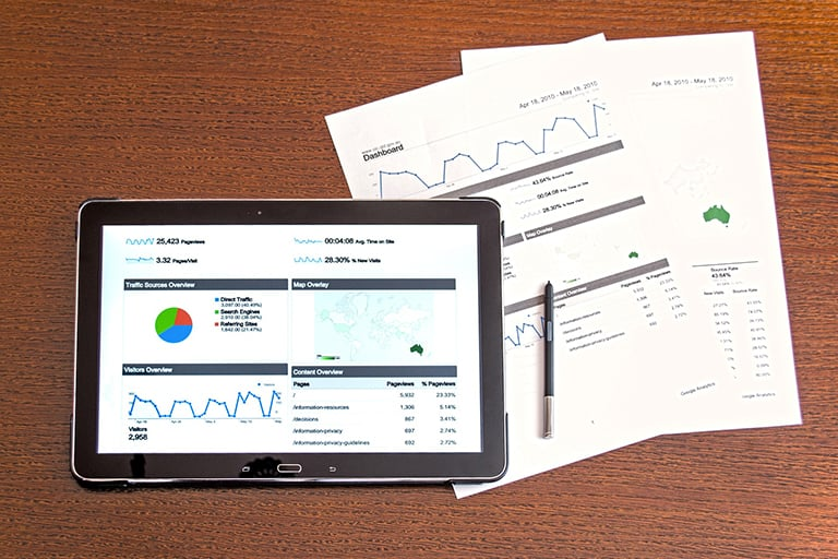 A tablet with charts and diagrams analyzing traffic and marketing.