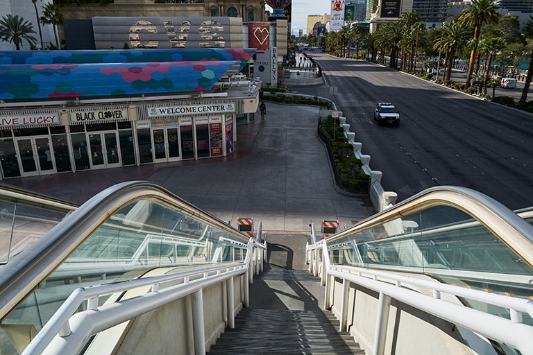 View from the top of an escalator