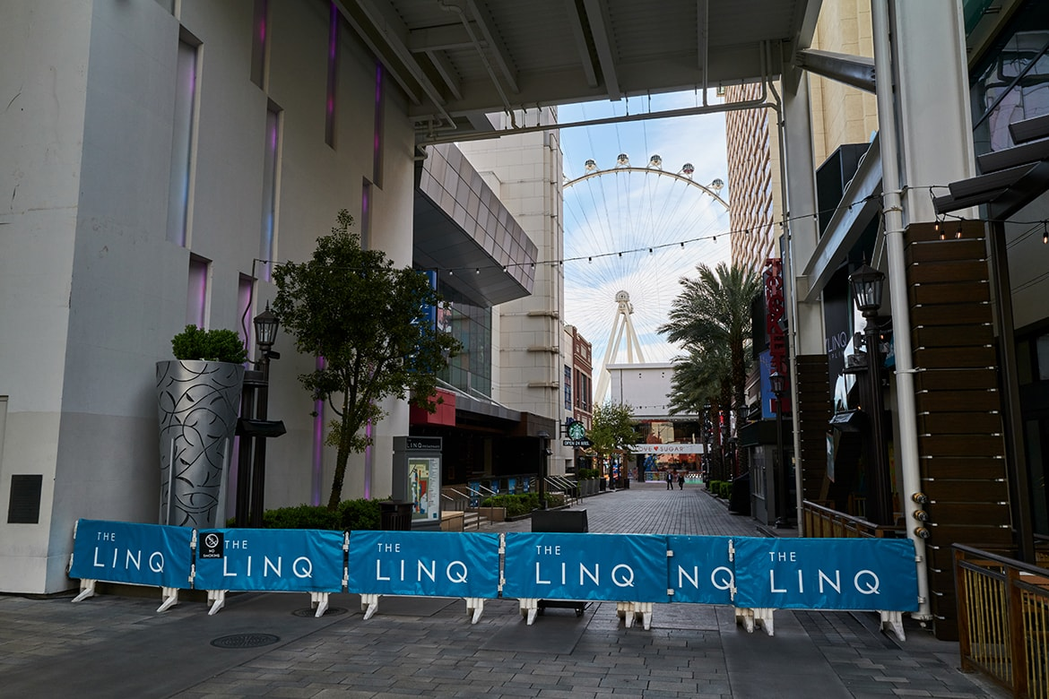 Closed entrance to The Linq