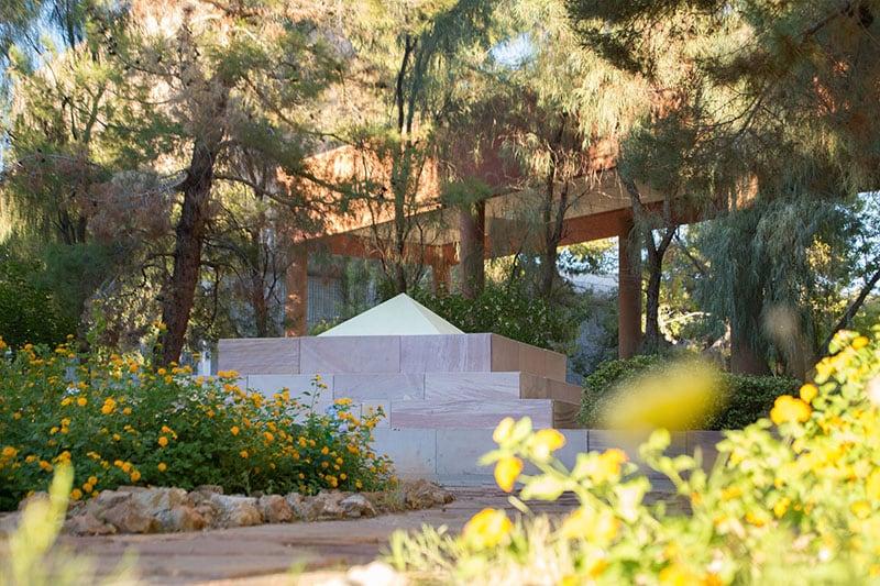 Pyramid-like sculpture in CFA garden.