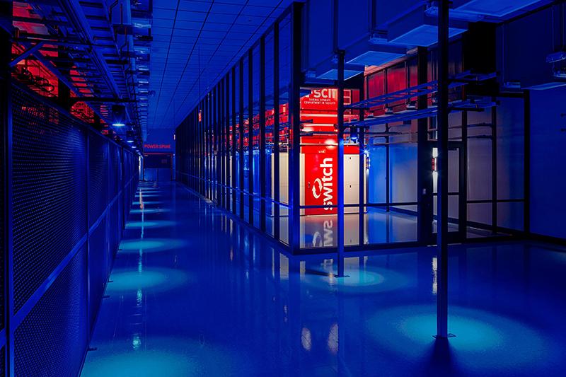 Dimly lit server room