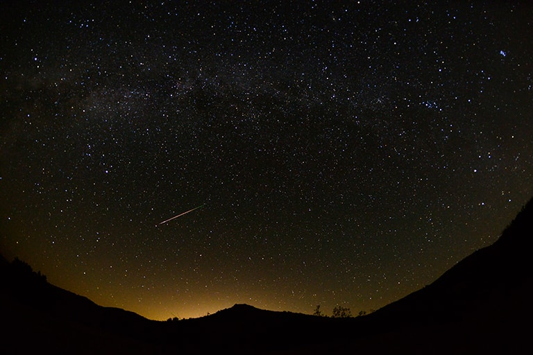 shooting star after sunset