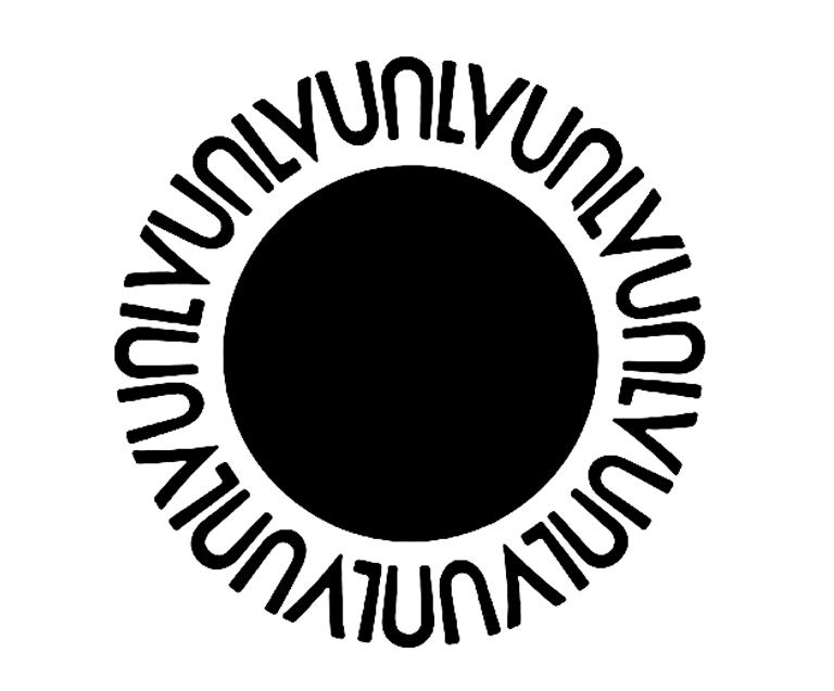 Black circle with repeated U.N.L.V. characters