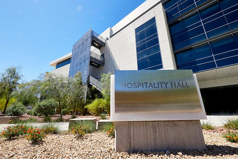 Building with Hospitality Hall sign