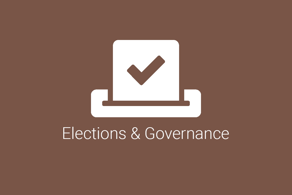 Election ballot icon with the words elections and governance beneath