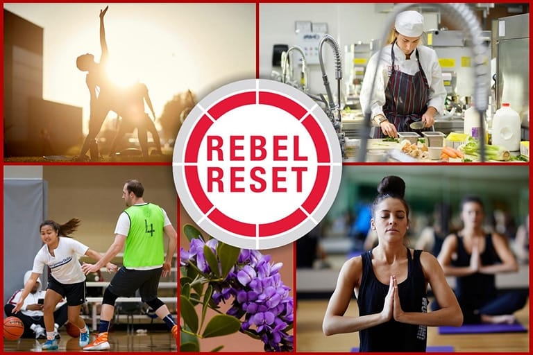 Collage of people doing various activities like yoga and cooking with the Rebel Reset logo centered in the middle