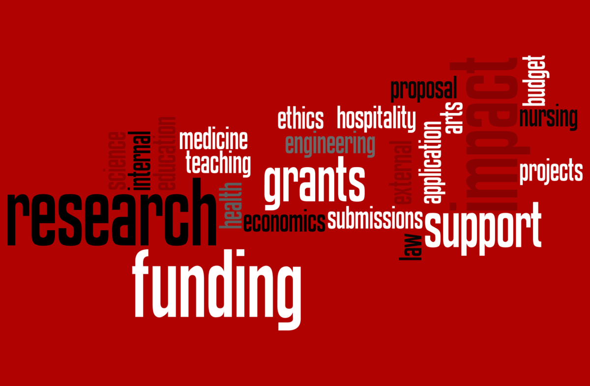 Text cloud of funding-related words and phrases