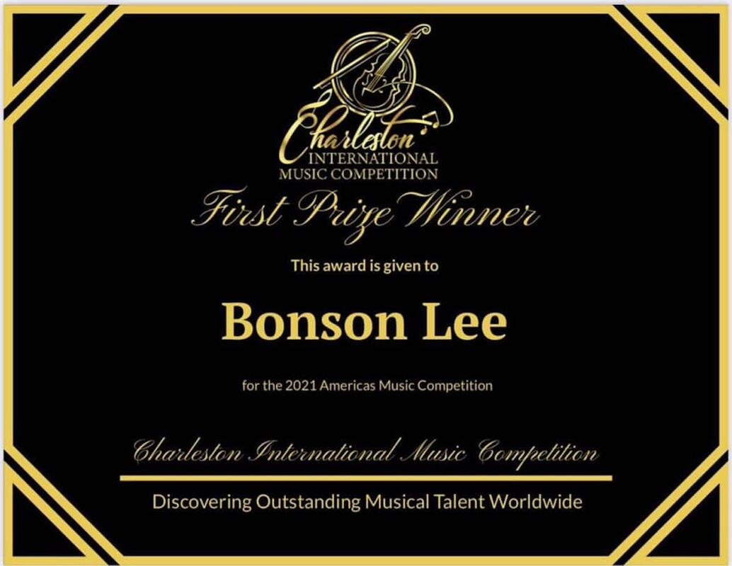 Bonson Lee first prize certificate