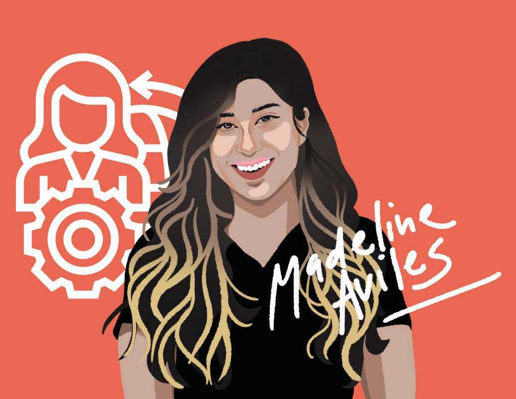 Graphic illustration of scholarship recipient Madeline Aviles in a black t-shirt