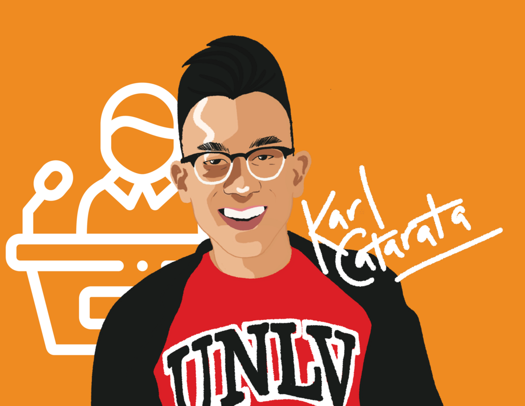 Graphic illustration of scholarship student Karl Catarata in a UNLV t-shirt