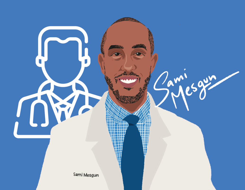 Graphic illustration of scholarship recipient Sami Mesgun in a white coat