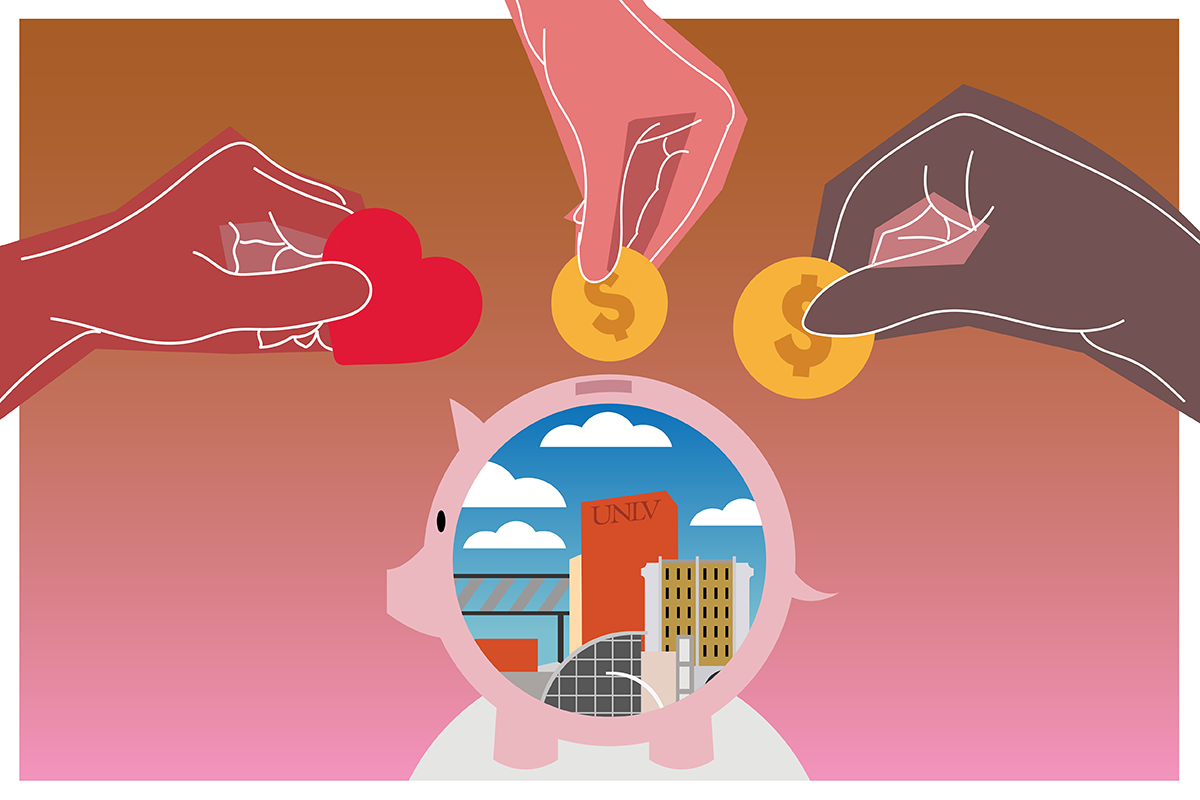 illustration of hands putting coins into piggy bank for UNLV