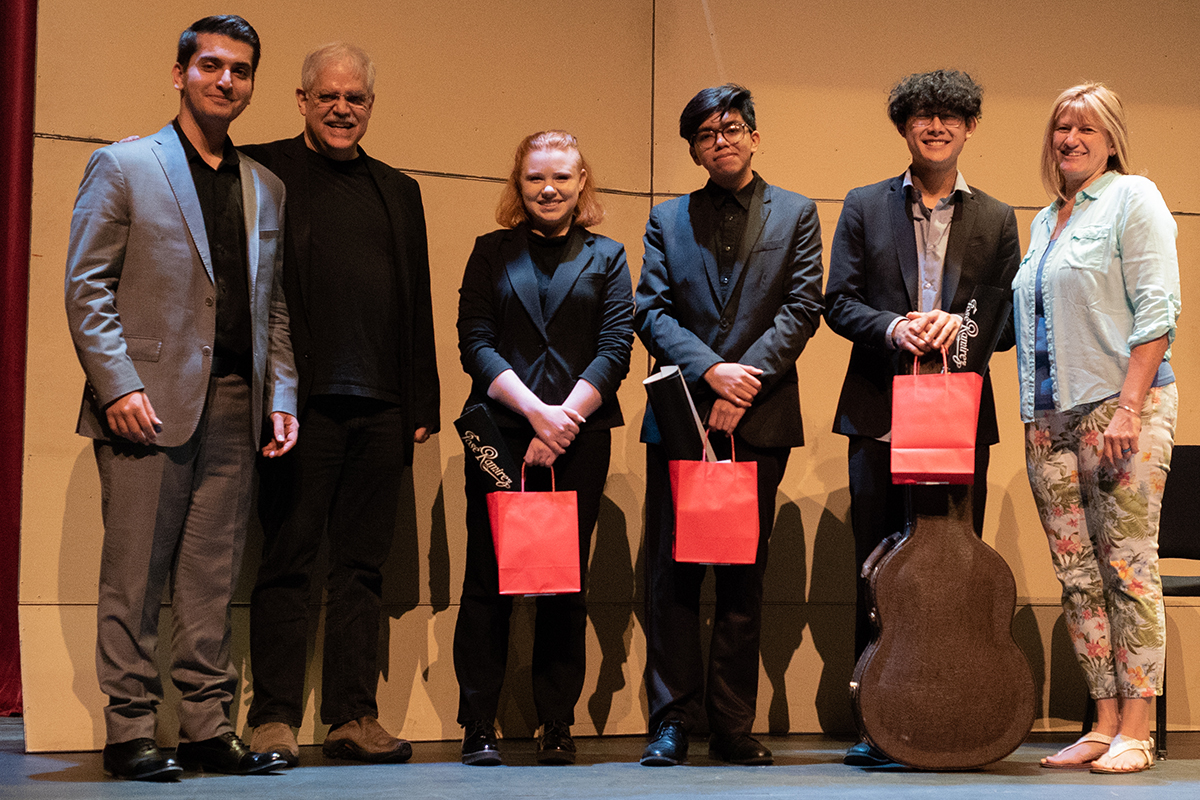 Winners of the guitar competition with Parsa Sabet, Ricardo Cobo, and Lori Pullen