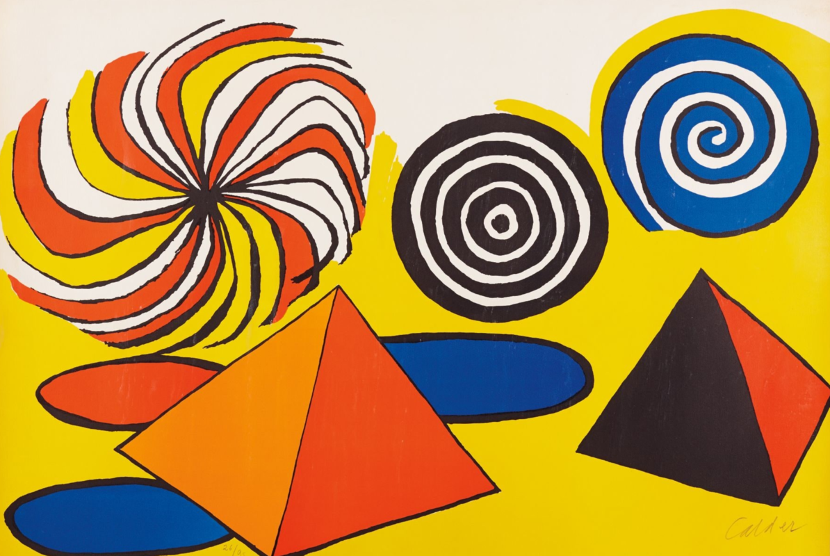 Alexander Calder Untitled (Pinwheels and Pyramids), circa 1970 Lithograph in colors, on wove paper, signed in pencil lower right, The Lilley Collection, UNR