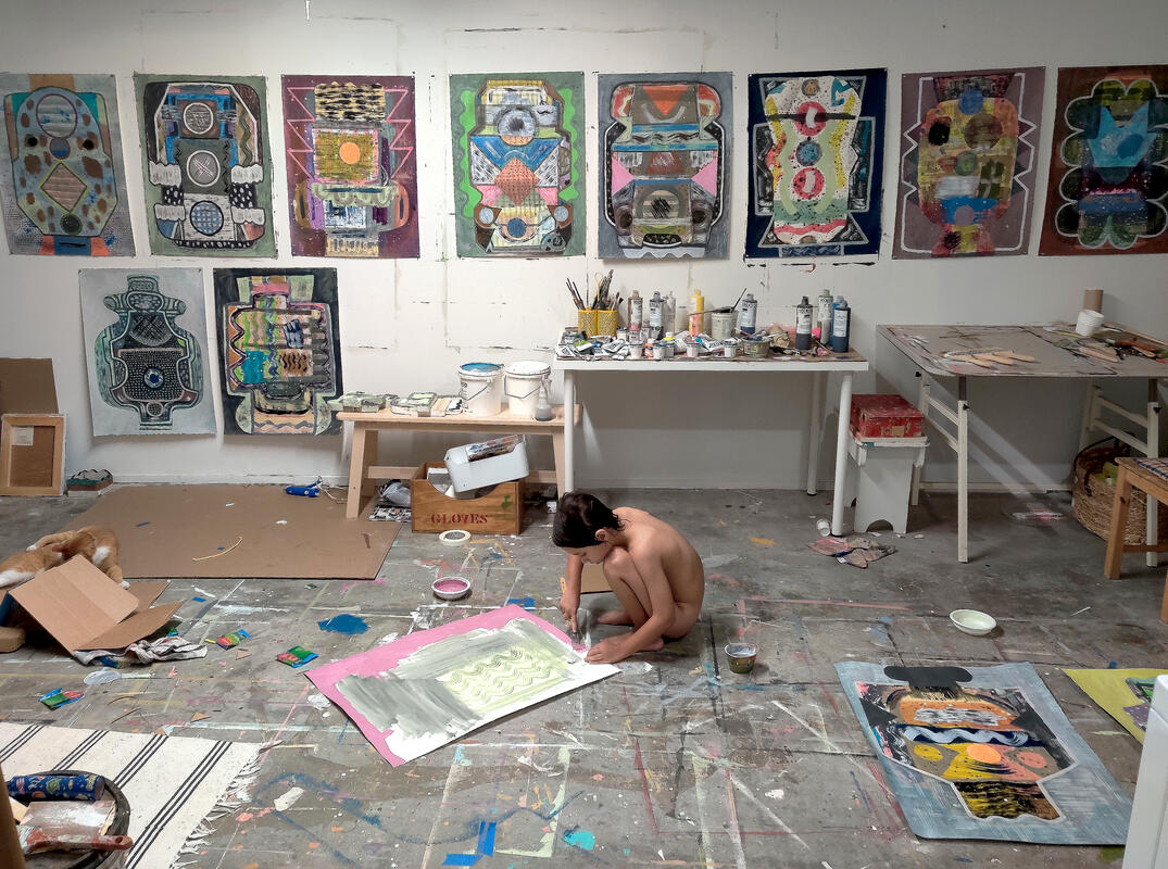 The artist's studio and son Wesley (2020)