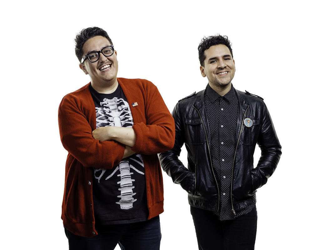 Latinos Who Lunch podcast hosts FavyFav and Babelito, photo by Krystal Ramirez