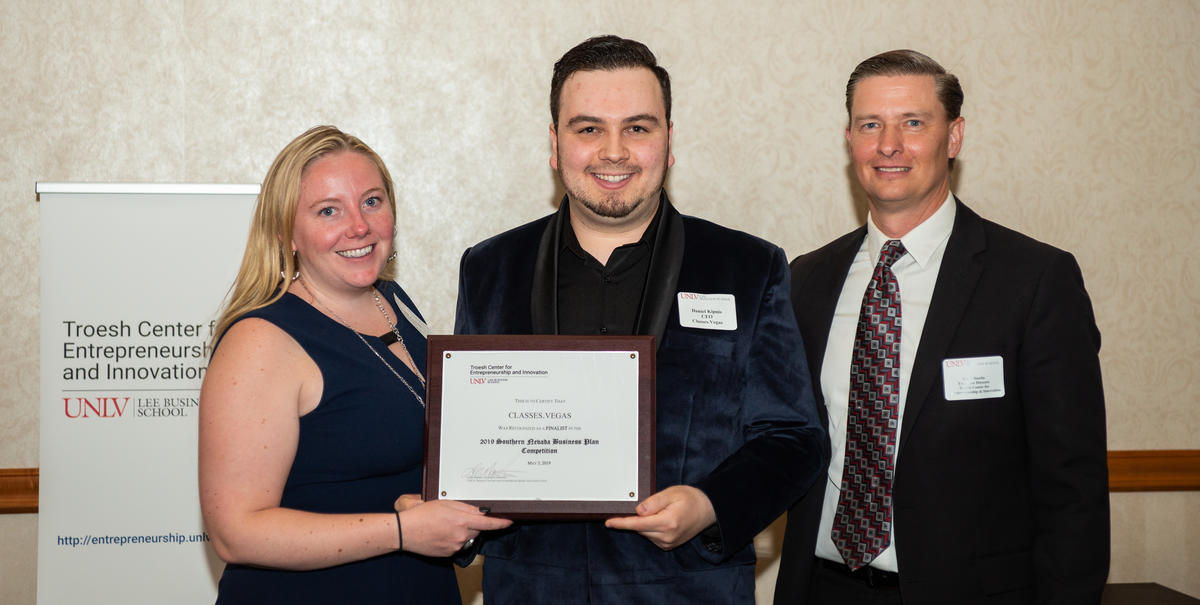 Daniel Kipnis and Kaila Leavitt, winners of the 2019 Southern Nevada Business Plan Competition with Lieth Martin