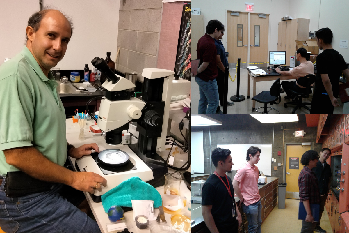 Three photos of Dr. Pravica and his students in the research lab