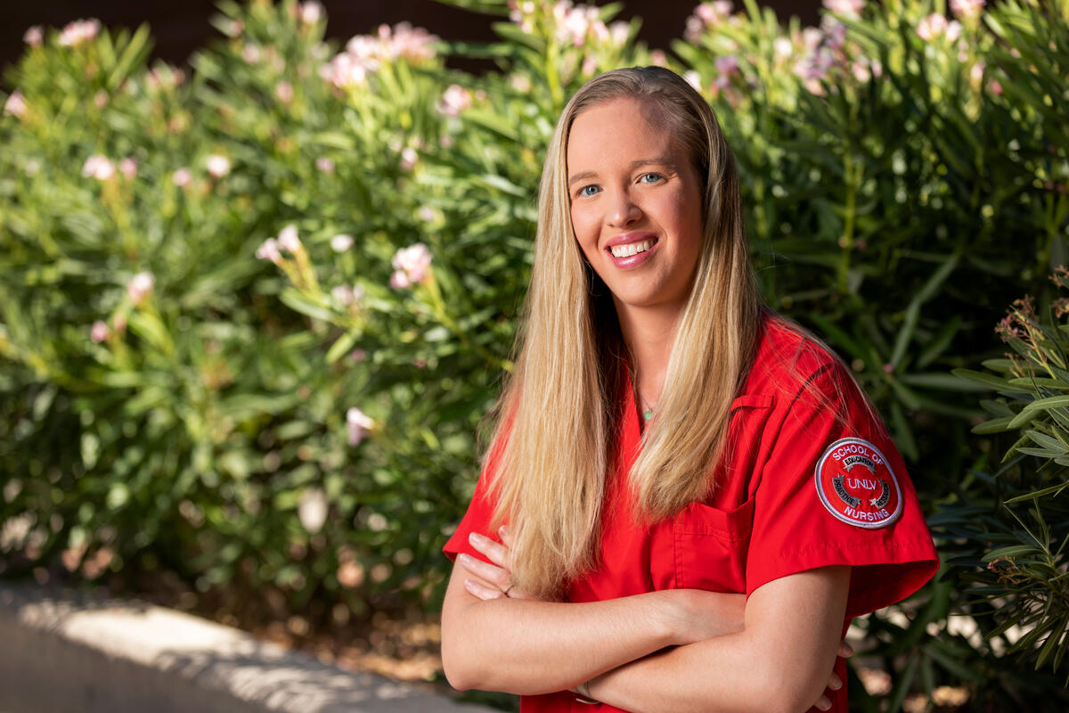 Nursing Student Alyssa Macleod in her scrubs