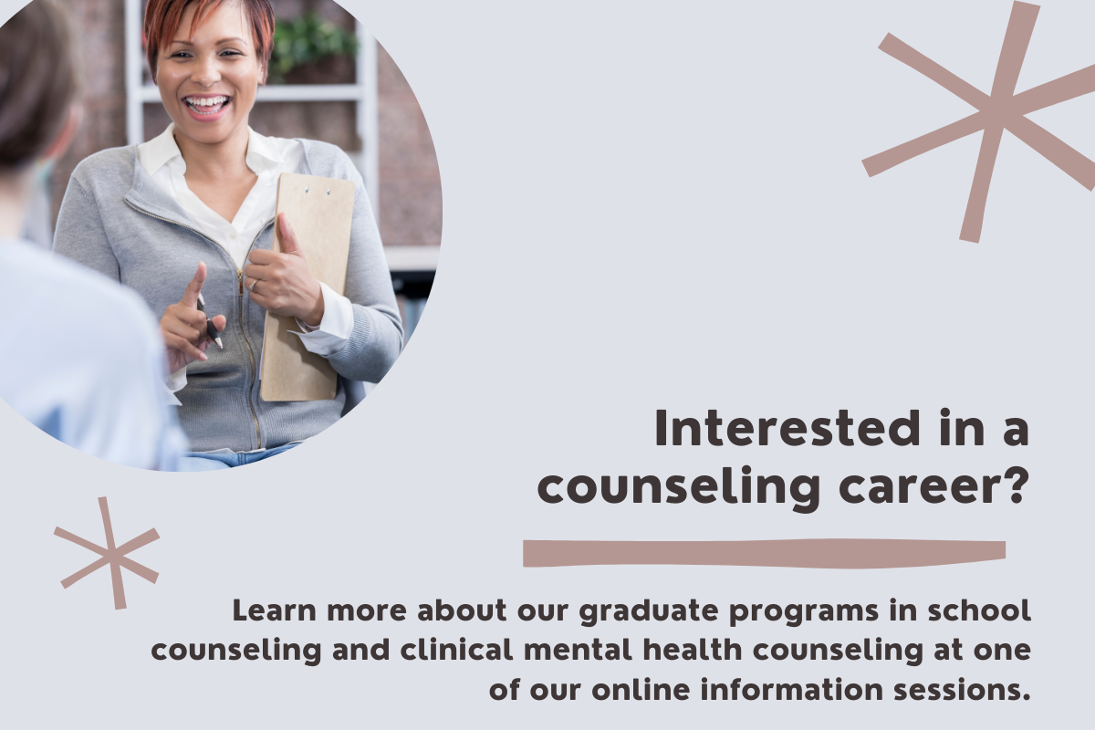 Graphic: Graduate programs in school counseling and clinical mental health counseling