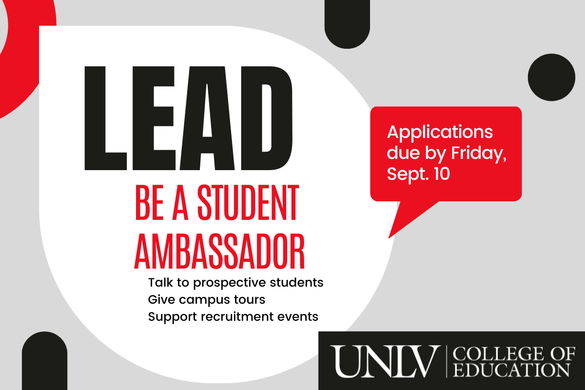 graphic reads: Lead - Be a student ambassador - applications due by Sept. 10