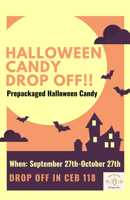 Halloween Candy Drop off in CEB 118 through October 27