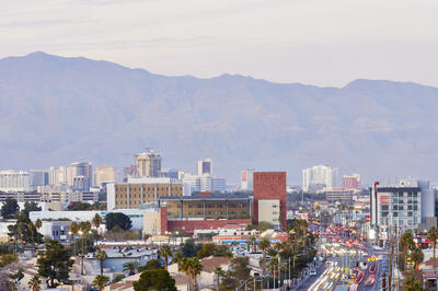 A picture of UNLV with the Las Vegas Strip and Maryland Parkway in the background.