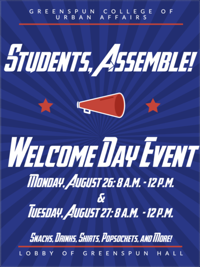 This is a blue and red flyer advertising the welcome event for urban affairs students on Aug. 26 and Aug. 27 from 8 a.m. to noon each day.