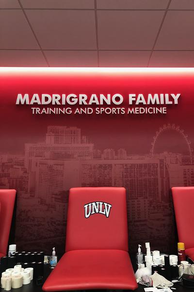 Interior of the Madrigrano Family Training and Sports Medicine Center at the Fertitta Football Complex