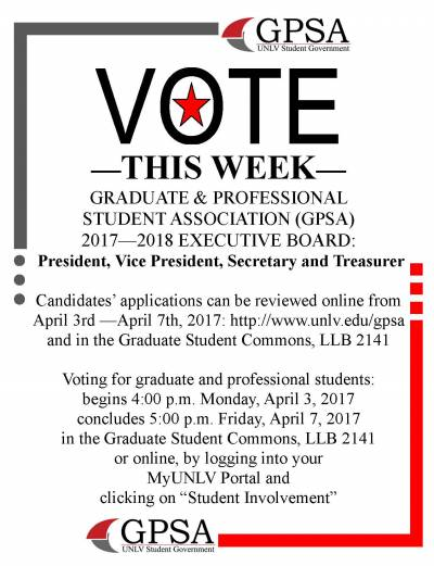Vote this week for the 2017 - 2018 GPSA Executive Board