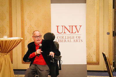 Regent Lieberman speaking at a liberal arts event