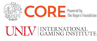 UNLV International Gaming Institute and Core, powered by The Rogers Foundation, partnership logos