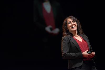 Anjala Krishen speaking to an audience