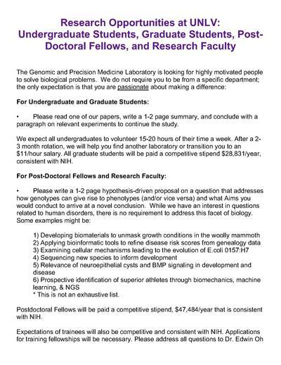 Research Opportunity at UNLV: Undergraduates, Graduates