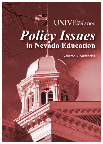 Policy Issues in Nevada Education journal cover art featuring Nevada capitol building