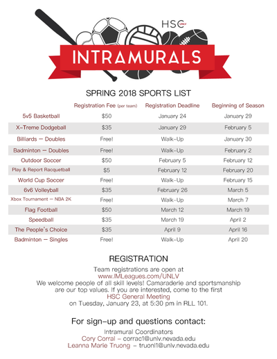 hsc intramural sports sign up now honors college university